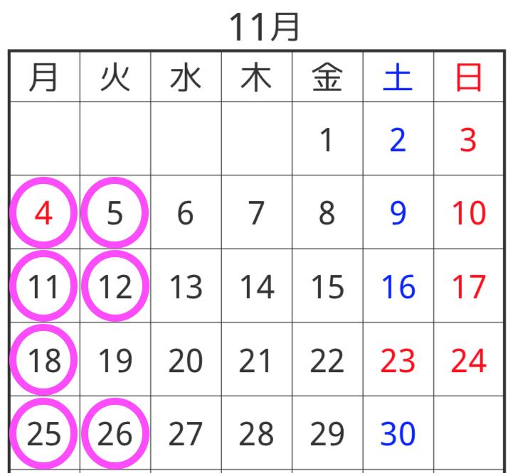 11月の定休日のお知らせ!!